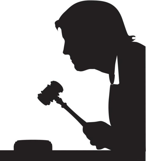 Judge with gavel silhouette